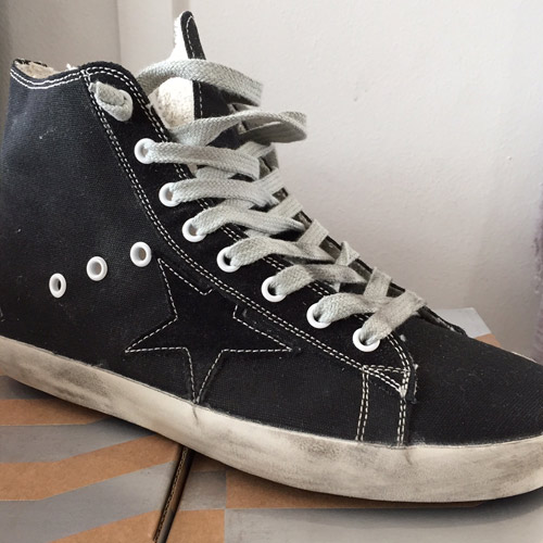 golden goose francy black canvas