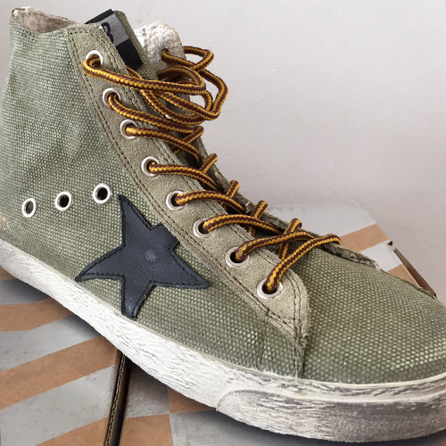 golden goose francy olive canvas