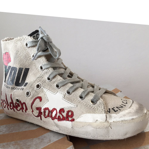 golden goose francy white glitter
