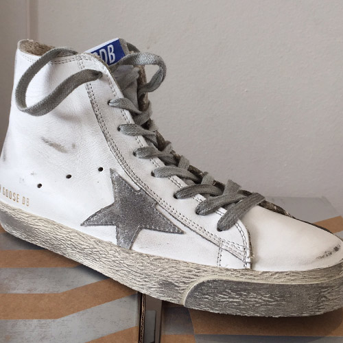 golden goose white silver leather